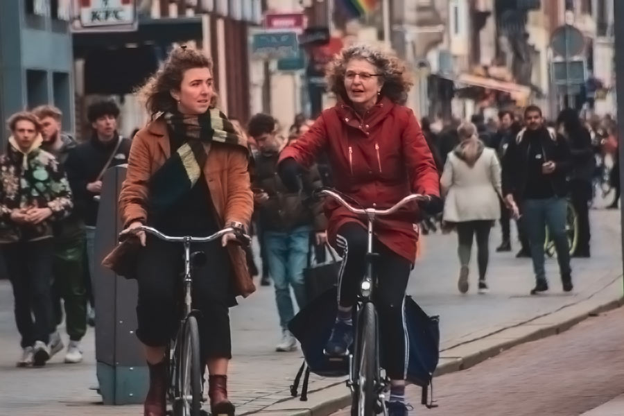 Two ladies on bikes