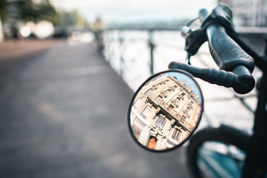 Rear view in a Bike mirror
